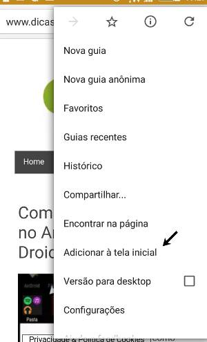 Como adicionar sites à tela inicial do Android