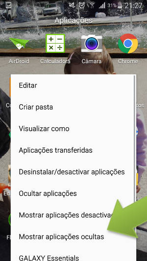 mostrar aplicativos no galaxy s4