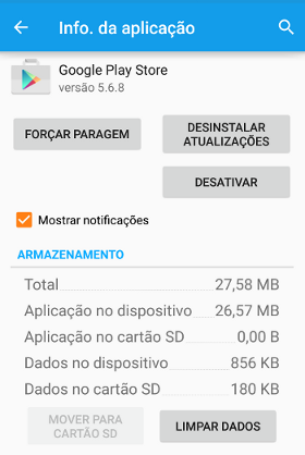 erro 505 do Google Play Store