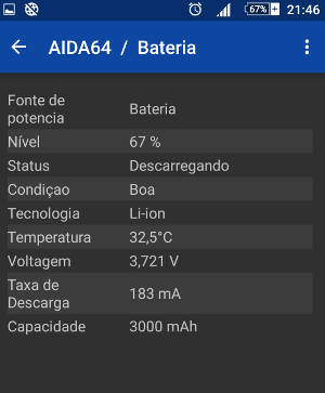 aida64 Bateria do android