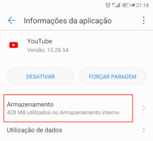 cache do aplicativo YouTube
