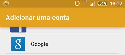 adicionar conta google