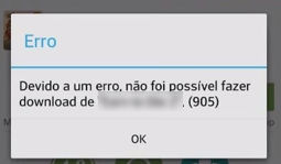 erro 905 do Play Store