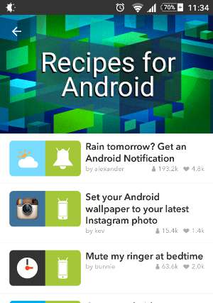 ifttt android recipes