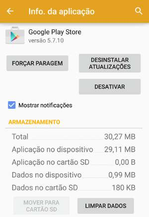 erro 961 do Play Store