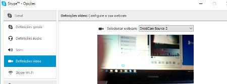 usar o droidcam no skype