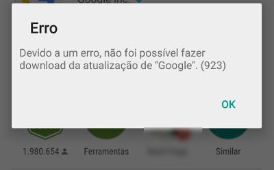 Como resolver o erro 923 do Google Play Store