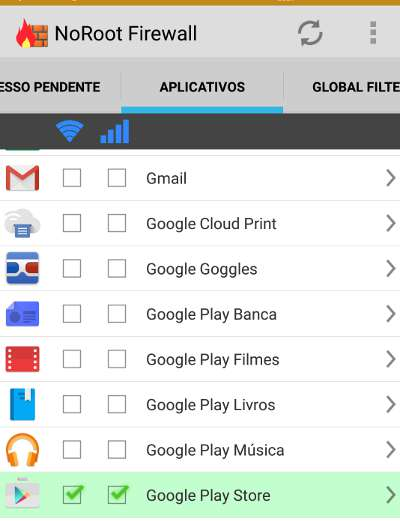 firewall no android play store
