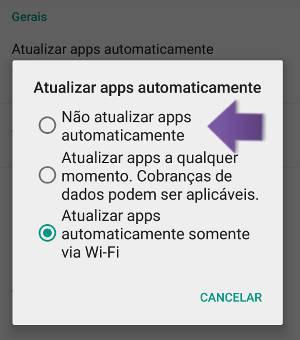 cancelar as atualizações automáticas no android