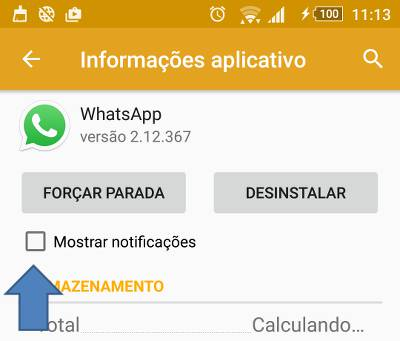 desativar as notificações do whatsapp no android