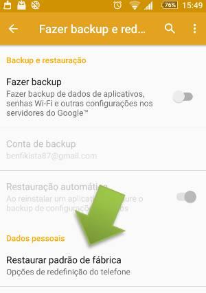 Como restaurar valores de fábrica no Android