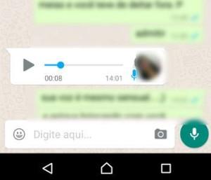 ouvir mensagem de áudio no WhatsApp