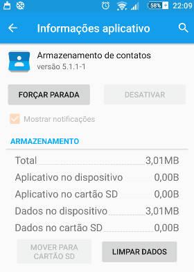 armazenamento de contatos android