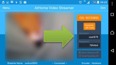 android como câmera de vigilância dados login athome