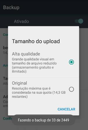 backup fotos no android