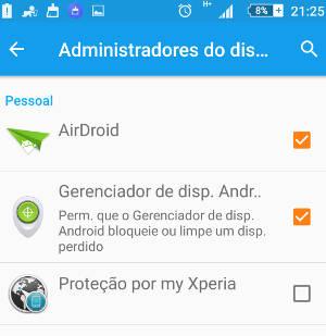 desativar um aplicativo administrador no Android