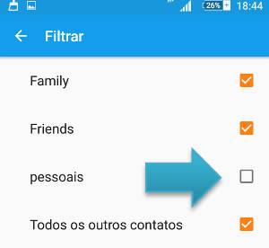 filtrar contatos android