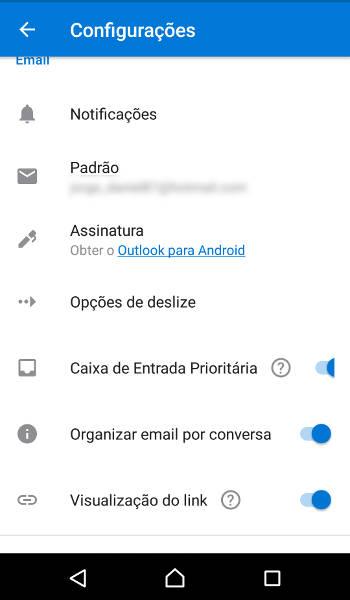 Como remover a assinatura do Outlook no Android