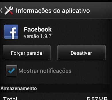 desativar o facebook