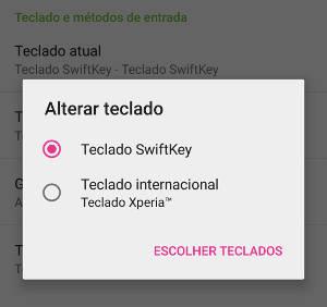 mudar teclado no android