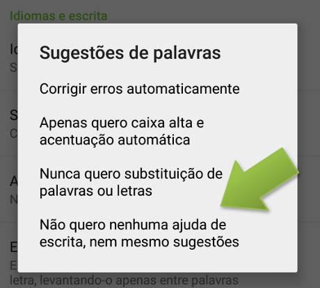 sugestão de palavras no Android