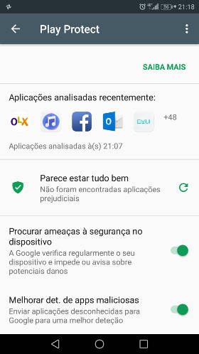 google play store protect ativado