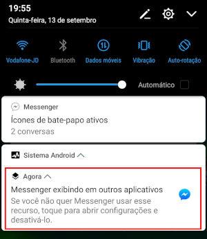 Messenger exibindo em outros aplicativos