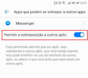 messenger Permitir a sobreposição a outros aplicativos