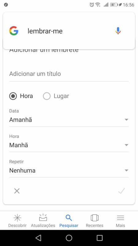 criar lembrete com o google assistente