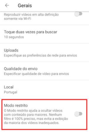 modo restrito youtube android