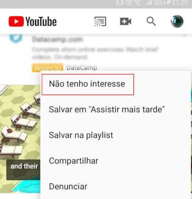 não tenho interesse youtube android