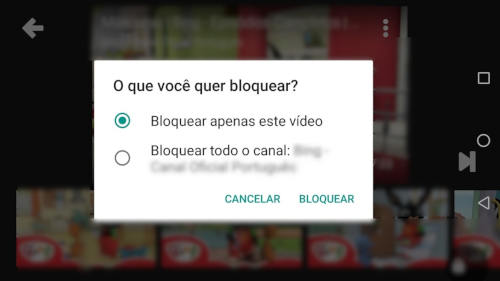bloquear canais do youtube