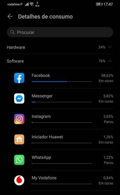Facebook consumindo muita bateria