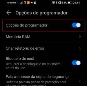 desativar modo desenvolvedor no android