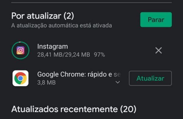 Play Store não termina as atualizações dos Aplicativos
