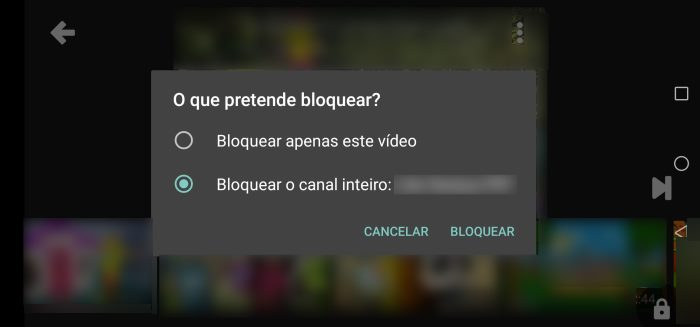 bloquear conteúdo no YouTube