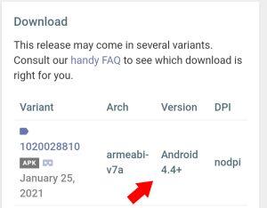 versão mínima do android