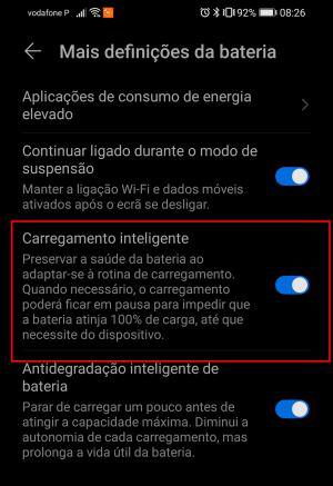 ativar / desativar carregamento inteligente no android