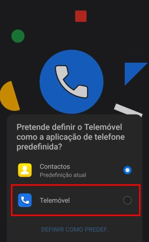Google telefone como aplicativo predefinido