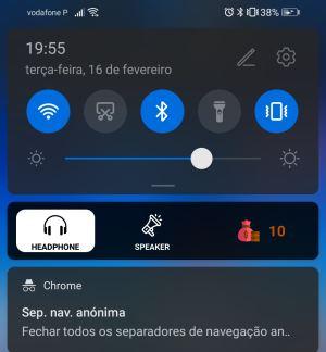 notificação headphone speaker