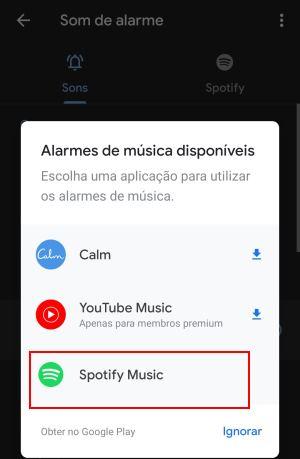 usar música do spotify no despertador