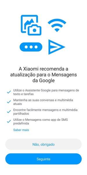 Xiaomi recomenda a app Mensagens Google