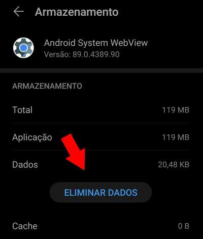 msa app continua a falhar limpar dados