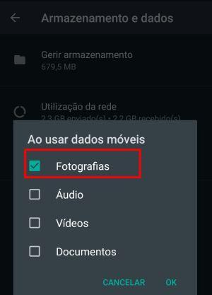 Bloquear o download automático de fotos