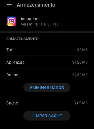 limpar cache do instagram