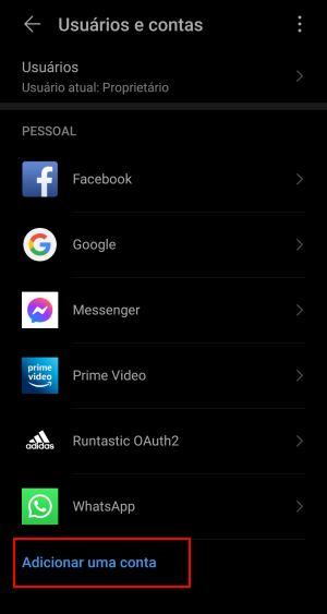 adicionar segunda conta google no android