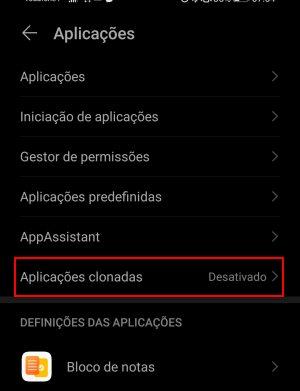 clonar um aplicativo no smartphone Huawei