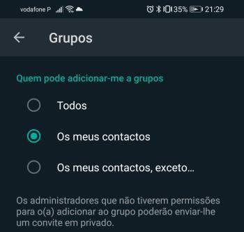 impedir que o adicionem em grupos no WhatsApp